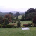 View from our bedroom window across the croquet pitch and an original art installation