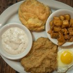 Country Fried Steak, homemade biscuit, sunny side eggs yum!