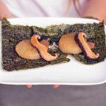 Tender daikon served on nori chip with shitake mushrooms