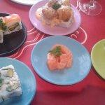 Sharing sushi...yum