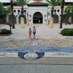 Gorgeous mosaic at the Visitor Center. That structure behind the kids is the parking garage.