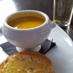 This was vegetable soup was so delicious and the garlic bread was warm and yummy.
