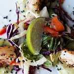 Sesame-Seared Prawns Meyer lemon, ginger & basil aioli, spicy Asian slaw