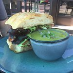 asparagus soup and half sandwich