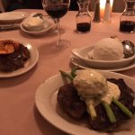 Our meals: Ribeye Steak - mine with Shrimp and Marvin's with Crab Cake and Asparagus