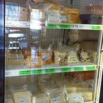 A partial view of the cheese that is offered