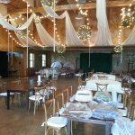 the wedding reception in the barn