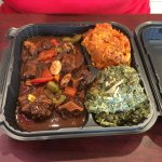 Oxtail with sweet potatoes and spinach - dinner size