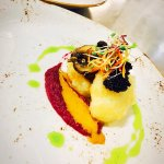 Scallop Tempura, Roasted Red Cabbage, BBQ, Cream, Crimini Mushrooms & Cajun Caviar