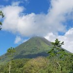 Morning view of Arenal Volcano from the hotel restaurant