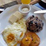 Free breakfast included - gallo pinto, eggs, plaintain, cheese, sour cream, juice and coffee