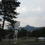 View of the mountains in front of the motel.