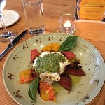 Caprese with heirloom tomatoes ~ amazing!!!!!!!