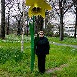 Me beside a daffodil statue