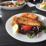 Good old fish, chips and salad never disappoint.