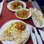 Korma, naan and veg biriyani