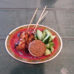 Chicken Satay with peanut sauce and cucumber