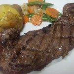 Striploin, Backed Potato and vegetables