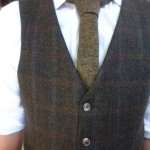 Tweed waistcoat and tie (shirt was just for trying on, not tailored)