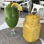 Mojito and mango/passionfruit/banana smoothie