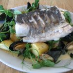 Baked Hake & Mussels, with new potatoes, in a mussel sauce.