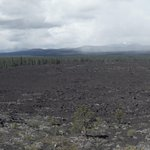 Panoramic view of lava fields from the top of the butte