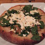 Since I am vegetarian, I ordered the spinach/goat cheese pizza without bacon.