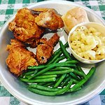 Honey Fried Chicken, green beans, cheddar macaroni cheese & a biscuit