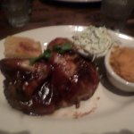 barbecued chicken, whipped sweet potatoes and cole slaw