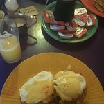Crab cakes benedict mmmmm and standard egg breakfast above