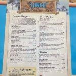 Splasher's lunch menu