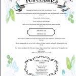 Pub classics menu from 13/09/17