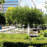 Splash Pad with view of Arch
