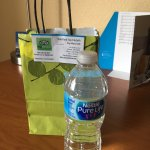 nice touch for Marriott Gold members was soft bag with water, powdered drink supplement and post