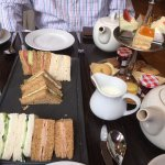Afternoon tea (scones not shown, they're off to the left of the sandwiches!)