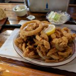 Fried fresh whole belly clams with onion rings and scrumptuous cole slaw.