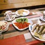 Shopska salad, grilled peppers, some fish