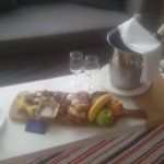 A complementary Cheese & Fruit Plate with a nice White Wine...