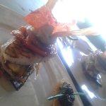 Mille feuille de perroquet. ..mousseline de fruit à pin ti légumes confit