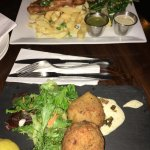 Fish Cakes (close) and Fish and Chips (afar).