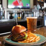 Trophy Burger, 22oz Maui Brewing Company Bikini Blonde Lager, and HD Sports!
