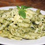 Yummy Italian pesto pasta.