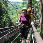 my mom walking on the canopy