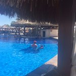 view from our cabana to the pool bar!
