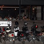 The front of the restaurant Motorcycle parking only