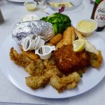 My fried Neptune platter, with baked potato, broccoli, and a side of Yuengling.