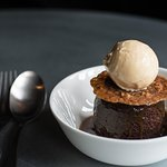 Sticky date and toffee pudding with vanilla ice-cream