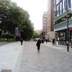 Pedestrian area approaching LSE Bankside