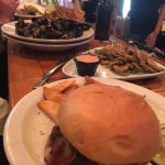 Spicy mussels, fried pickles & steakhouse burger w/salt n vinegar fries and house pickles.