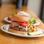 Pastrami Burger Special, served with Pasta Salad